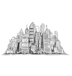 Artistic drawing of generic city high rise vector