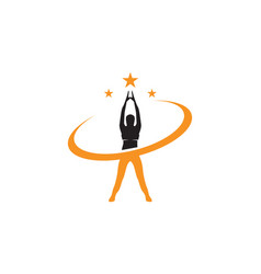athletic yoga body logo symbols icons vector image