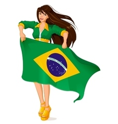 Beautiful woman fan holding Brazilian flag vector