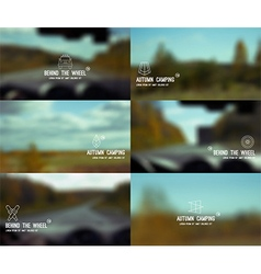 Behind the wheel and landscape blurred background vector image