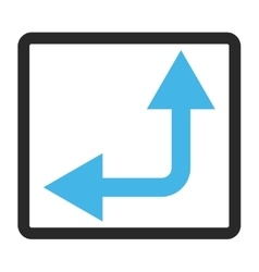 Bifurcation Arrow Left Up Framed Icon vector
