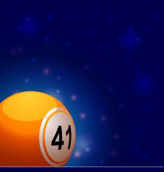 Bingo ball into space background vector