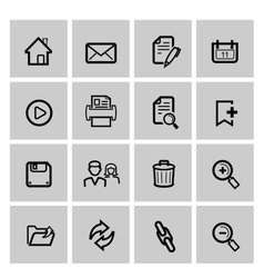 black web icons set on gray vector image