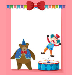 Border template with circus bear and clown vector