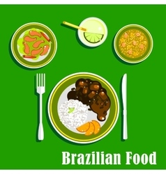 Brazilian cuisine icons with national dishes vector