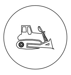 bulldozer icon black color in round circle vector image