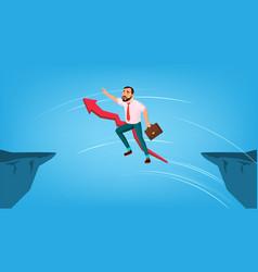 Businessman jump through gap between cliff vector