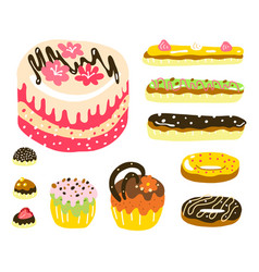 cake muffin donuts candy and eclair dessert set vector image