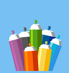 cans of spray paint set vector image