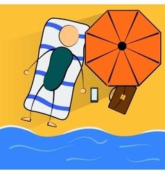 Cartoon businessman relaxes on the beach vector