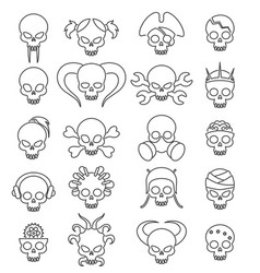 Cartoon cute skull linear icon set vector