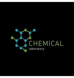 Chemical laboratory logo on a black background vector image