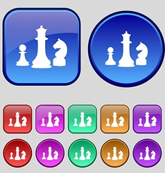 Chess Game icon sign A set of twelve vintage vector