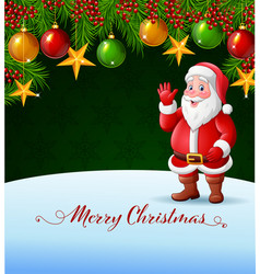 christmas background with santa claus waving hand vector image