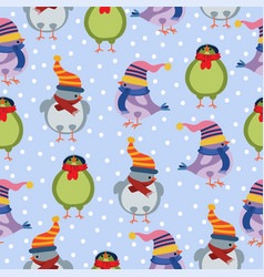 christmas seamless pattern with birds vector image