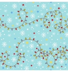 Christmas seamless pattern with garland vector image