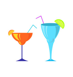 cocktail poured in special glasses with straws vector image