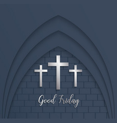 Cross for good friday on brick background vector