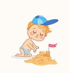 cute bagirl making sand castles on beach vector image