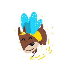 cute funny winged dog with a magic wand fantasy vector image
