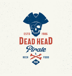 Dead head pirate beer and food pub abstract vector