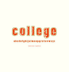 Decorative lowercase sans serif font with contour vector