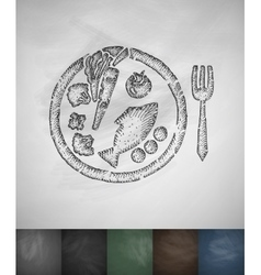 Dietary meal icon Hand drawn vector