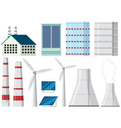Different design of factory buildings and chimneys vector