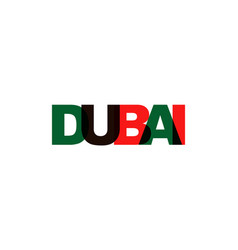 dubai phrase overlap color no transparency vector image