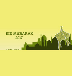 Eid mubarak with mosque and green vector