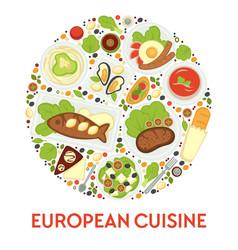 european food menu cuisine europe meals and vector image