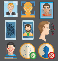 Facial recognition fingerprint security concept vector