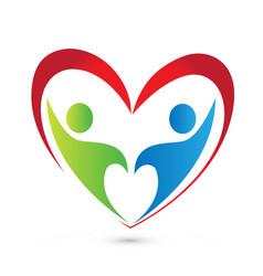 Family heart couple relationship logo vector