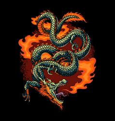Fire dragon let out a burst fire vector