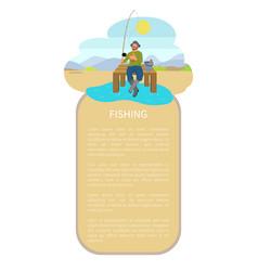 Fishing man on lake or riverside back flat poster vector