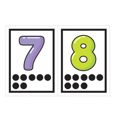 Flash card collection for numbers vector