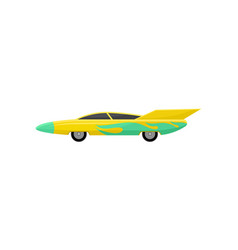 flat icon of bright yellow racing car with vector image