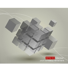 Floating 3d cube with moving segmented parts vector