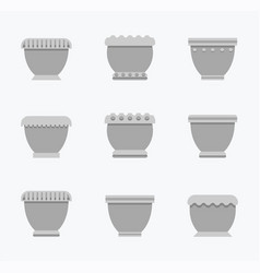 flower pots curved collection vector image