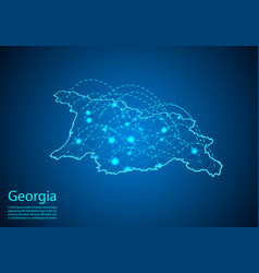 Georgia map with nodes linked by lines concept of vector