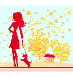 Girl walking with her dog in autumn landscape vector image