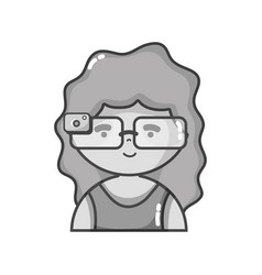 Grayscale girl with 3d glasses to virtual video vector