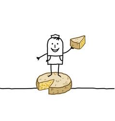 Hand drawn cartoon characters - retailer cheese vector