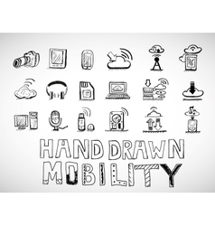 Hand drawn mobility icons doodles vector image