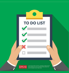 Hand holding to do list or planning in flat style vector
