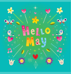 hello may greeting card vector image