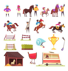 Horse racing icons collection vector
