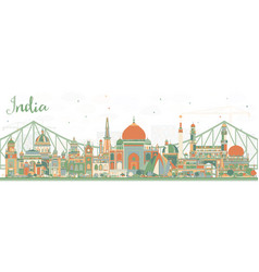 India city skyline with color buildings vector
