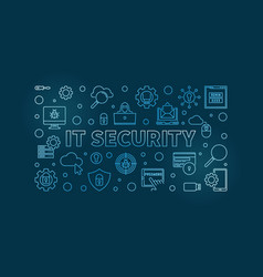 it security concept outline blue horizontal vector image
