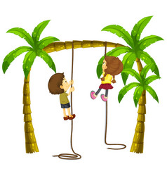 kids climbing rope on the tree vector image